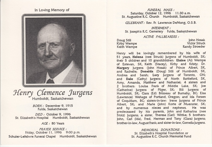 funeral card